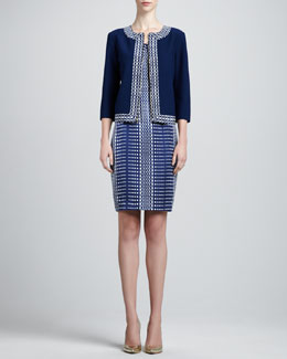 St. John Collection Nouveau Boucle Knit Jacket & Sleeveless Linear Silk Faille Dress