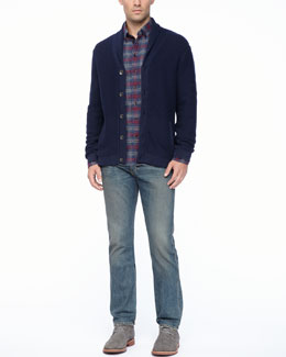 Rag & Bone Donaghy Shawl Cardigan, Oxford Button-Down Shirt & Indigo Wash Denim Jeans
