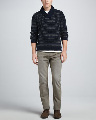 Basic Tee, Patrick Shawl Collar Sweater & Denim Five-Pocket Jeans