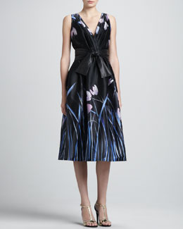 St. John Collection Tulip Print Satin Faced Organza Cocktail Dress with Pleated Wrap Front & Leather Wide Tie Belt