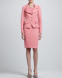 St. John Collection Space-Dyed Damier Fitted Jacket, Pencil Skirt & Shell with Shoulder Shirring