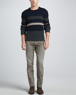Rag & Bone Teddy Block Stripe Crewneck Sweater & Denim Five-Pocket Jeans