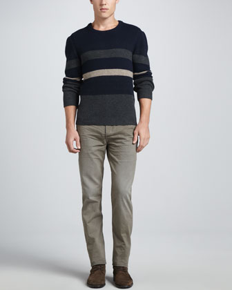 Teddy Block Stripe Crewneck Sweater & Denim Five-Pocket Jeans