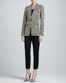 St. John Collection Corinthian-Collar Jacket, Sleeveless Pleated-Neck Shell & Emma Cropped Pants with Pockets
