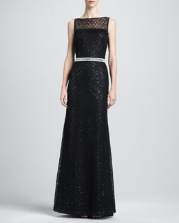 St. John Collection Gossamer-Lined Lace Gown & Beaded Belt