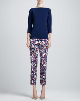 St. John Stretch 3/4-Sleeve Sweater & Marble Mosaic Printed Pants