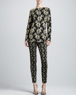 St. John Collection Milano Shimmer Lily Jacquard Tunic & Jacquard Ankle Pants