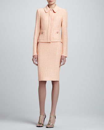 Tweed Knit Jacket, Pencil Skirt & Shell with Shoulder Shirring
