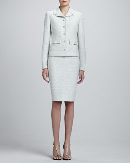 St. John Collection Crystalline Tweed Variegated Jacket & Pencil Skirt