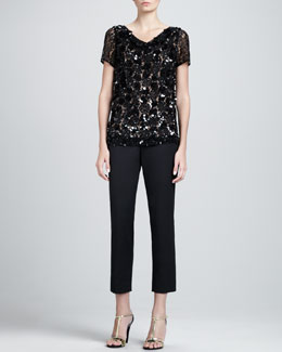 St. John Collection Hand-Beaded Cowl-Neck Top & Emma Cropped Pants with Pockets