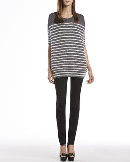 Gucci Metallic Striped Crewneck Sweater Top & Stretch Cotton Skinny Pants
