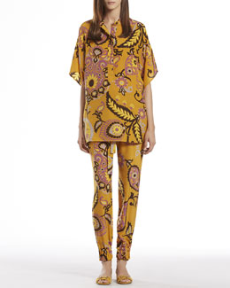 Gucci Paisley Print Silk Oversize Top & Jogging Pants