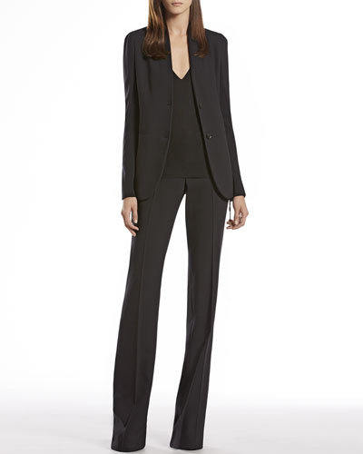 Gucci Wool Knit Insert Jacket, V-Neck Top & Skinny Flare Pants