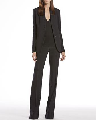 Wool Knit Insert Jacket, V-Neck Top & Skinny Flare Pants