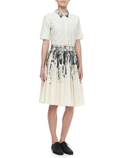 Bottega Veneta Short-Sleeve Button-Up Shirt & Pleated Printed Cotton Skirt