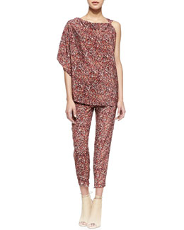 Bottega Veneta Printed Silk Georgette Asymmetric Top & Printed Silk Georgette Pants