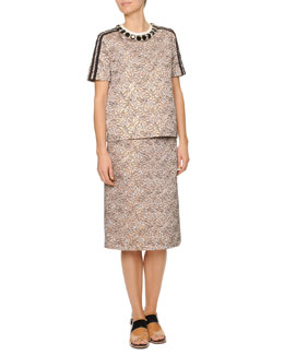 Marni Jewel-Neck Jacquard Top & Pleat-Back Jacquard Skirt