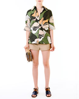 Marni Floral-Print Collared Tunic & Khaki Button-Front Shorts
