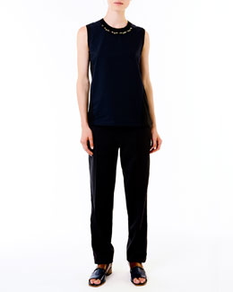 Marni Stud-Neck Jersey Top & Relaxed Tuxedo Pants
