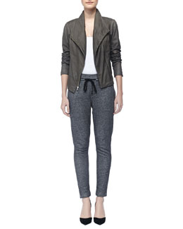 Vince Paper Asymmetric Leather Jacket & Piped Drawstring Sweatpants