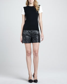 Vince Colorblock Cashmere Tee & Lamb Leather Shorts