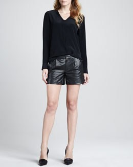 Vince Silk Long-Sleeve Blouse & Lamb Leather Shorts