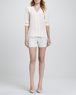 Vince Silk Long-Sleeve Blouse, Blossom & Silk Tipped Waistband Short