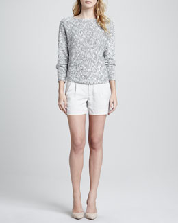 Vince Bateau Textured Knit Sweater & Silk Tipped Waistband Short