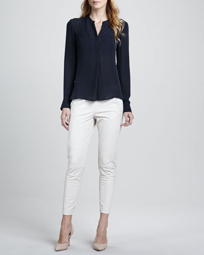 Vince Silk Welt Pocket Blouse & Cropped Leather Pants, Chalk