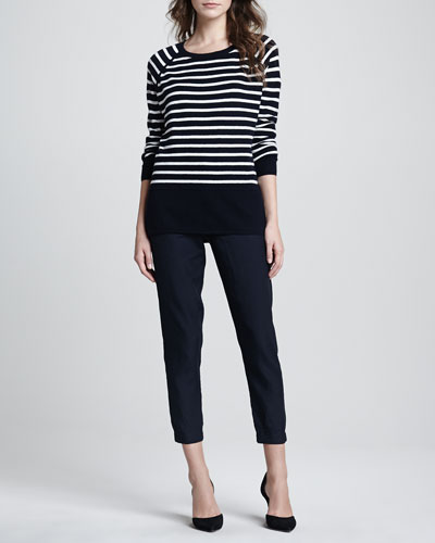 Vince Striped Relaxed Cashmere Sweater, Ribbed Favorite Tank & Straight-Leg Cuffed Trousers