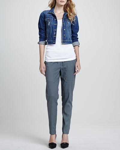 Vince Parker Cropped Denim Jacket, Ribbed Favorite Tank & Relaxed Drawstring Jogger Pants