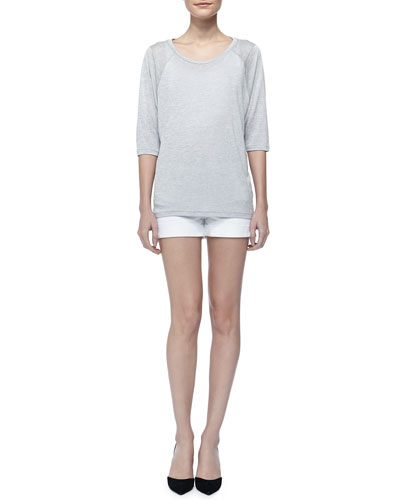 Vince Scoop-Neck Raglan Sleeve Tee & Cool Skinny Cuffed Shorts