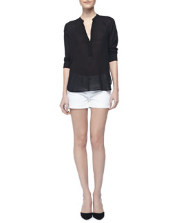 Vince Long-Sleeve Crepe Shirt & Cool Skinny Cuffed Shorts