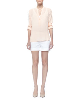 Vince Long Sleeve Crepe Shirt & Comfortable Relaxed-Fit Shorts