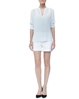 Vince Comfortable Relaxed-Fit Shorts & Long Sleeve Crepe Shirt