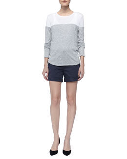 Vince Two-Tone Slub Tee & Rolled Relaxed Boyfriend Shorts