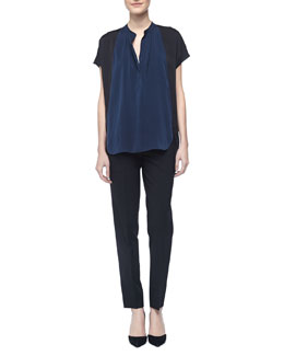 Vince Two-Tone Silk Popover Blouse & Tab-Side Cropped Trousers