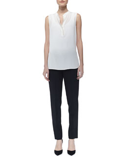 Vince Silk Contrast-Trim Blouse & Tab-Side Cropped Trousers