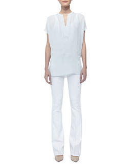 Vince Cap-Sleeve Silk Popover Blouse & Taylor Boot-Cut Jeans