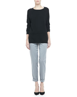 Vince Long-Sleeve Cashmere Sweater & Relaxed Cuffed Boyfriend Trousers