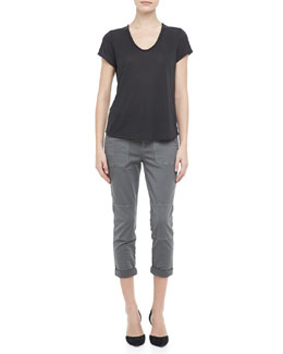 Vince Scoop-Neck Slub Tee & Cuffed Twill Military Pants