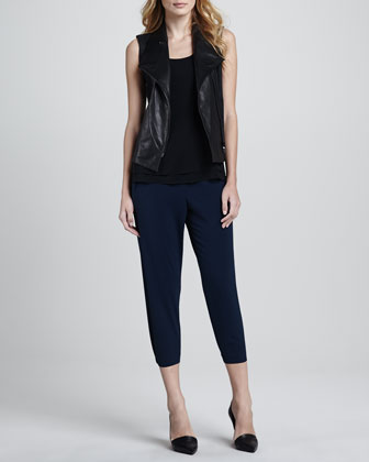 Leather-Front Twill Vest, Double Layer Silk Tank & Jersey Cropped Pants