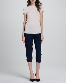 Vince Short-Sleeve Jersey Tee & Jersey Cropped Pants