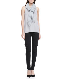Vince Loose Sleeveless Jersey Tank, Slim Military Cargo Pants & Fringe-Trim Scarf
