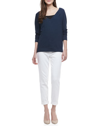 V-Neck Cotton Sweatshirt & Mason Relaxed Cuffed Jeans