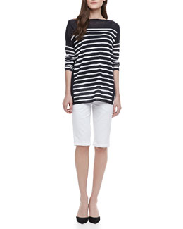Vince Boat-Neck Striped Sweater & Side-Buckle Bermuda Shorts