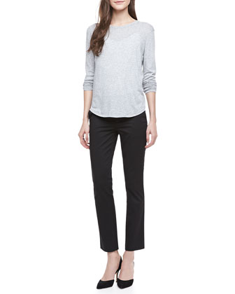 Long-Sleeve Slub Tee & Straight-Leg Capri Pants