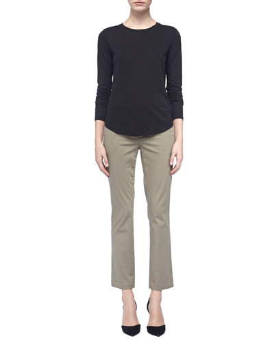 Vince Long-Sleeve Knit Tee & Straight-Leg Twill Capri Pants