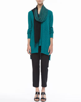 Eileen Fisher Linen-Cotton Slub Cardigan, Long Organic Linen-Jersey U-Neck Tank, Airy Linen-Cashmere Scarf & Organic Stretch Twill Slim Ankle Pants