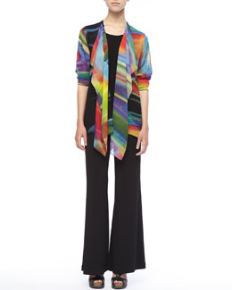 Caroline Rose Over-the-Rainbow Jacket, Stretch-Knit Long Tank & Wide-Leg Pants